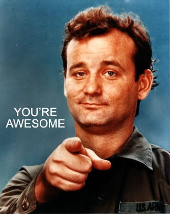 "Meme of Bill Murray pointing directly at the camera, with the caption, ""You're Awesome"""