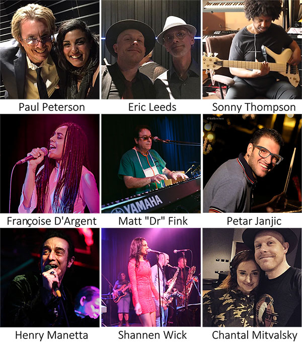"Photos of Paul Peterson, Eric Leeds, Sonny Thompson, Francoise D'Argent, Matt ""Dr"" Fink, Petar Janjic, Henry Manetta, Shannen Wick and Chantal Mitvalsky"